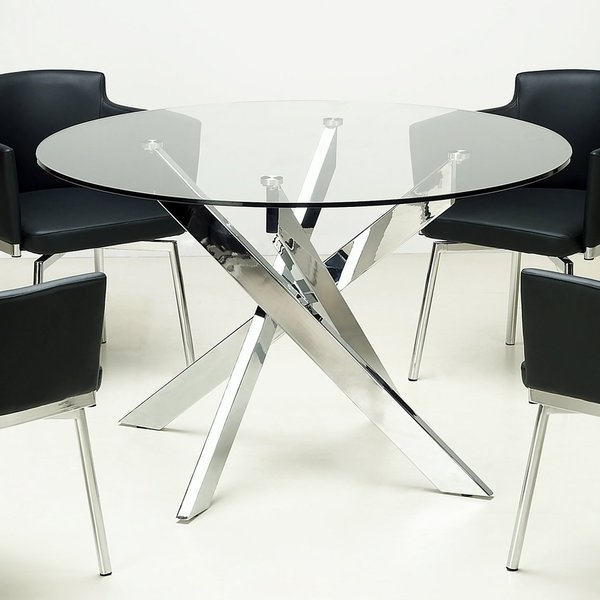 Shop Somette Round Glass Top Chrome Dining Table – Free Shipping Inside Chrome Dining Sets (Image 22 of 25)