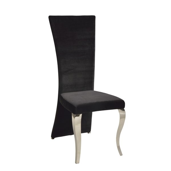 Shop Somette Tabitha Black Velvet Rectangle High Back Dining Chair Within High Back Dining Chairs (Image 21 of 25)
