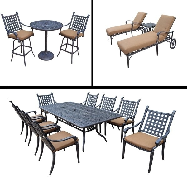 Shop Sunbrella Cushioned Set Includes 3 Pc Bar Set, 9 Pc Dining Set Intended For Grady 5 Piece Round Dining Sets (View 13 of 25)