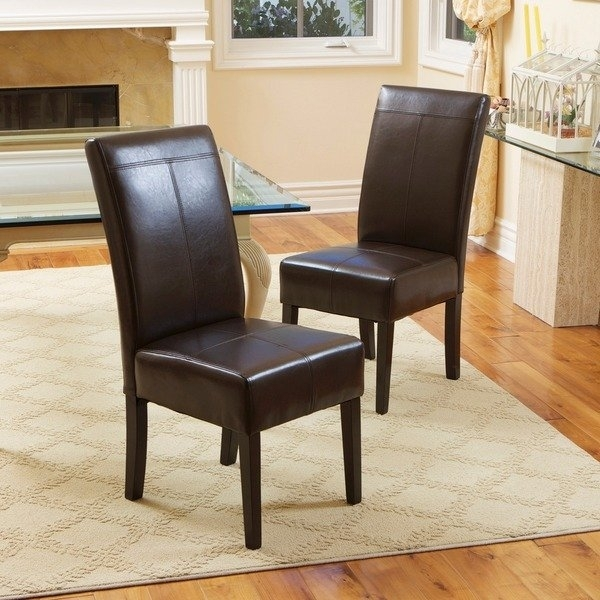 Shop T Stitch Chocolate Brown Leather Dining Chairs (Set Of 2) Intended For Brown Leather Dining Chairs (View 2 of 25)