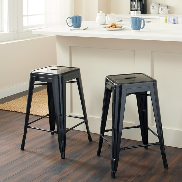 Shop Tabouret 24 Inch Black Metal Counter Stools (Set Of 2) – Free In Valencia 5 Piece Counter Sets With Counterstool (View 4 of 25)