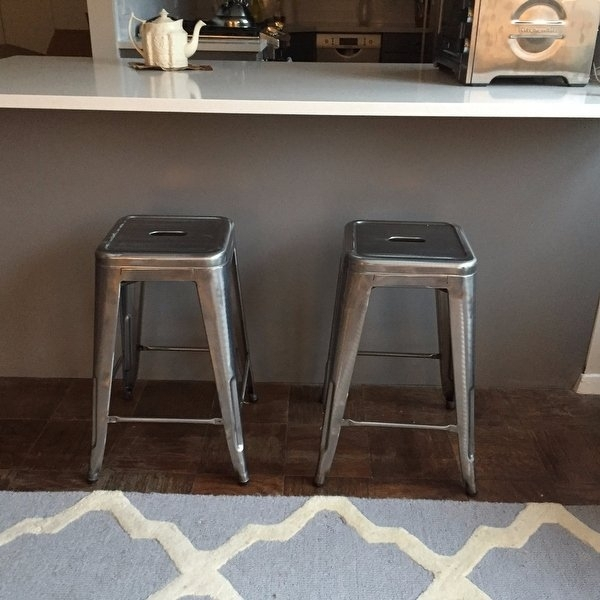 Shop Tabouret 24 Inch Vintage Patina Backless Counter Stool (Set Of In Laurent 7 Piece Counter Sets With Wood Counterstools (Image 16 of 25)