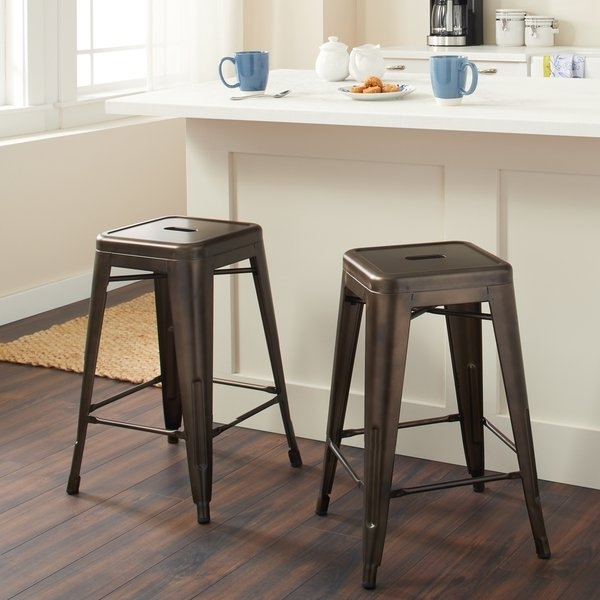Shop Tabouret 24 Inch Vintage Patina Backless Counter Stool (Set Of Throughout Laurent 7 Piece Counter Sets With Upholstered Counterstools (Image 19 of 25)