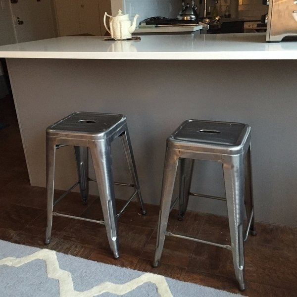 Shop Tabouret 24 Inch Vintage Patina Backless Counter Stool (Set Of Within Laurent 7 Piece Counter Sets With Wood Counterstools (Image 18 of 25)