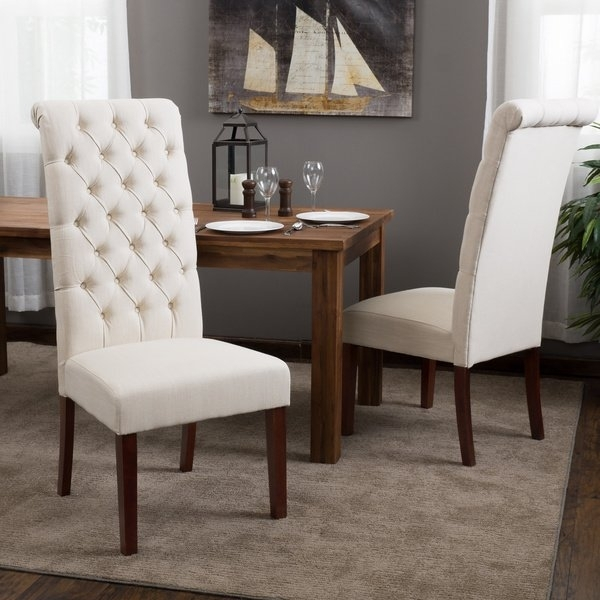 Shop Tall Natural Tufted Fabric Dining Chair (Set Of 2) Throughout Caira Black 5 Piece Round Dining Sets With Diamond Back Side Chairs (Image 21 of 25)