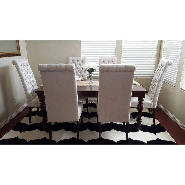 Shop Tall Natural Tufted Fabric Dining Chair (Set Of 2) With Regard To Caira Black 5 Piece Round Dining Sets With Diamond Back Side Chairs (Image 22 of 25)
