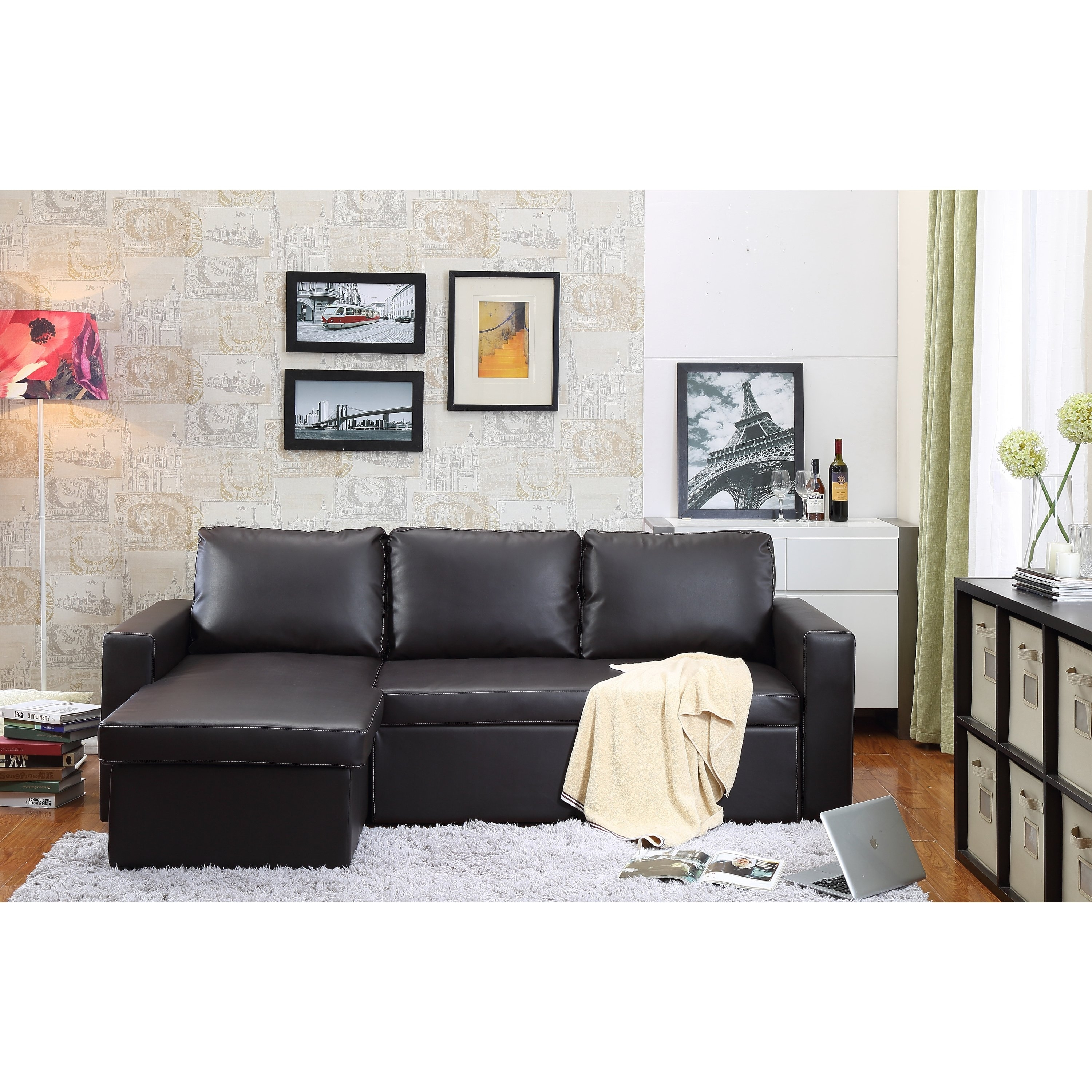 Shop The Hom Georgetown 2 Piece Brown Bi Cast Leather Sectional Sofa Regarding Nico Grey Sectionals With Left Facing Storage Chaise (Image 22 of 25)
