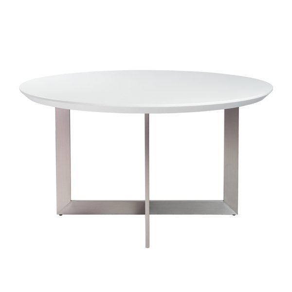 "Shop Tosca 54"" Round Dining Table In Matte White With Brushed Pertaining To Brushed Metal Dining Tables (Image 21 of 25)"