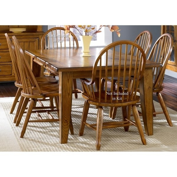 Shop Treasures Rustic Oak 5 Piece Bow Back 44X108 Rectangular Throughout Craftsman 7 Piece Rectangular Extension Dining Sets With Arm & Uph Side Chairs (Image 23 of 25)