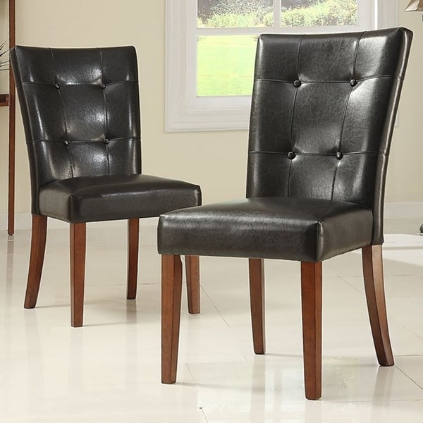 Shop Tufted Button Back Dark Brown Pu Dining Chair (Set Of 2) Pertaining To Button Back Dining Chairs (Image 24 of 25)