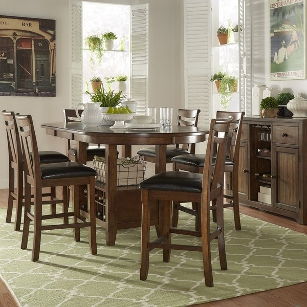 Shop Tuscany Brown Wood Wine Rack Counter Height Extending Dining intended for Cora 5 Piece Dining Sets