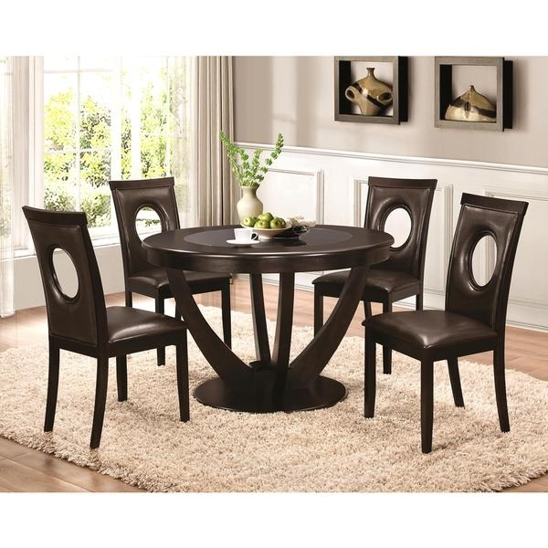 Shop Valencia Casual 5 Piece Round Dininig Set With Black Tempered Regarding Valencia 72 Inch 7 Piece Dining Sets (Image 20 of 25)