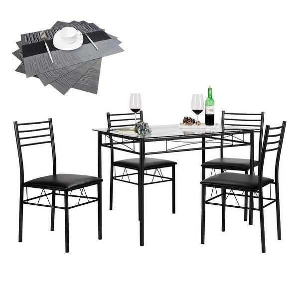 Shop Vecelo Glass Dining Table Set With 4 Chairs Kitchen Table Set For Black Glass Dining Tables And 4 Chairs (View 15 of 25)