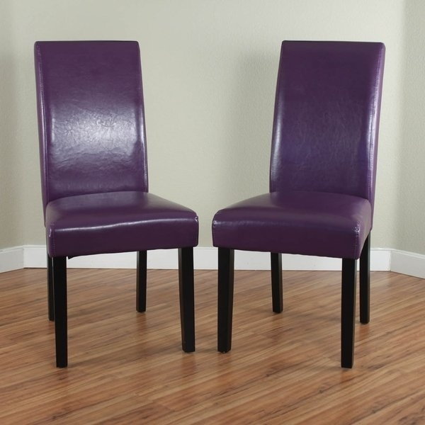 Shop Villa Faux Leather Boysenberry Dining Chairs (Set Of 2) – Free With Regard To Purple Faux Leather Dining Chairs (Image 23 of 25)