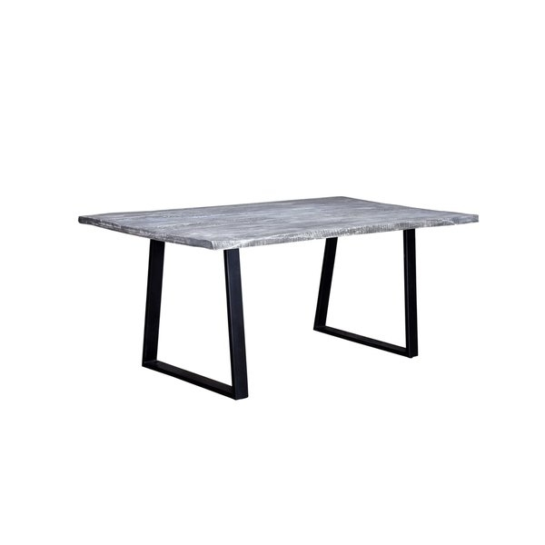 Shop Wanderloot Crossover Grey/black Mango Wood/metal Live Edge In Mango Wood/iron Dining Tables (Image 19 of 25)
