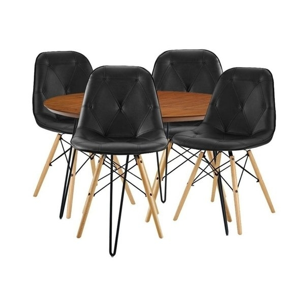 Shop We Furniture 5 Piece Round Hairpin Dining Group With 4 Black In Caden 5 Piece Round Dining Sets With Upholstered Side Chairs (View 24 of 25)