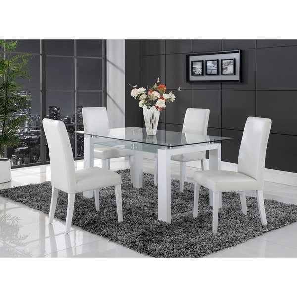 Shop White Solid Wood Glass Top Dining Table – Free Shipping Today Pertaining To Glass Dining Tables With Wooden Legs (View 12 of 25)