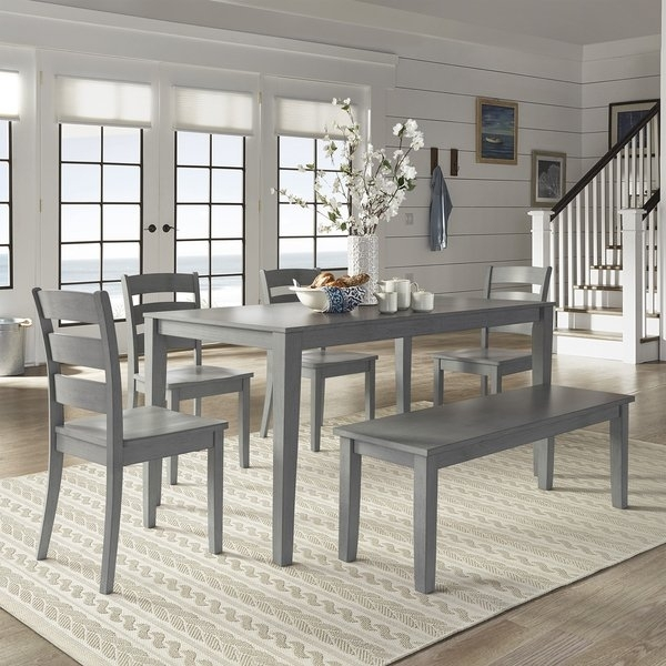 Shop Wilmington Ii 60 Inch Rectangular Antique Grey Dining Set Pertaining To Grey Dining Tables (Image 23 of 25)