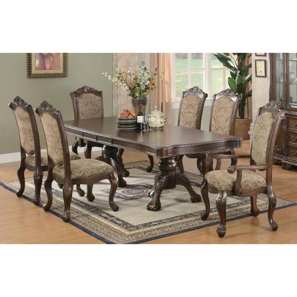 Shop Windsor Cherry Finished Wood 7 Piece Dining Set With Beige Within Gavin 7 Piece Dining Sets With Clint Side Chairs (View 3 of 25)