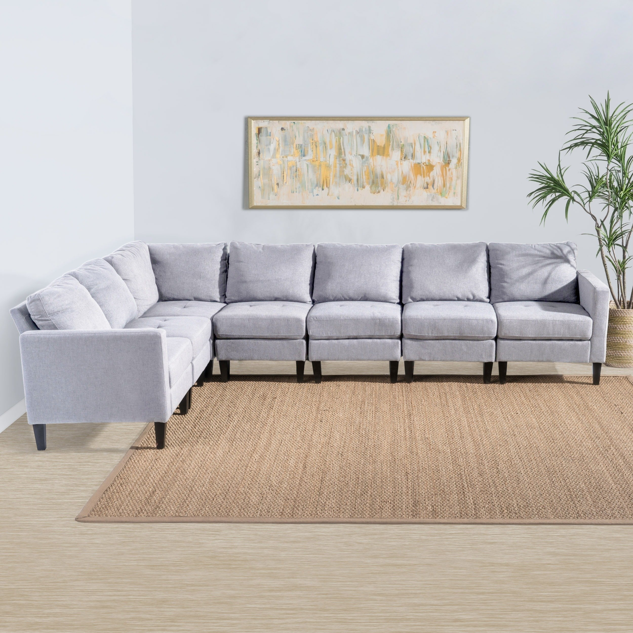 Shop Zahra 7 Piece Fabric Sectional Sofa Setchristopher Knight Within Haven Blue Steel 3 Piece Sectionals (Image 25 of 25)