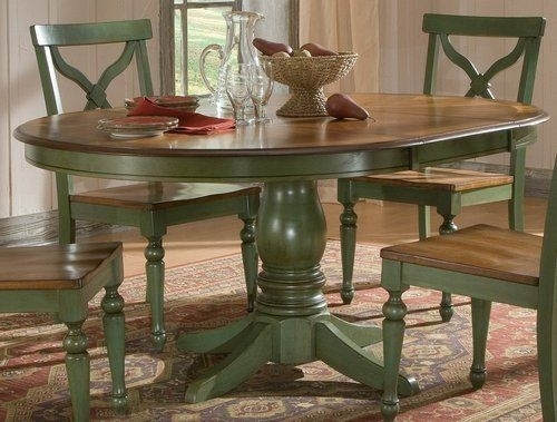 Sidney Dining Room Set Green Country French Round Table And 4 Chairs With Green Dining Tables (Photo 2 of 25)
