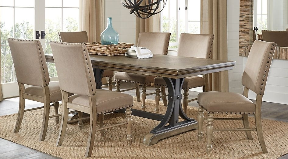 Sierra Vista Driftwood 5 Pc Rectangle Dining Set | Home Stuff With Caira 9 Piece Extension Dining Sets (View 14 of 25)