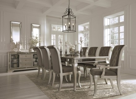Signature Designashley Birlanny Silver Rectangular Extendable Within Craftsman 7 Piece Rectangle Extension Dining Sets With Arm & Side Chairs (Image 23 of 25)