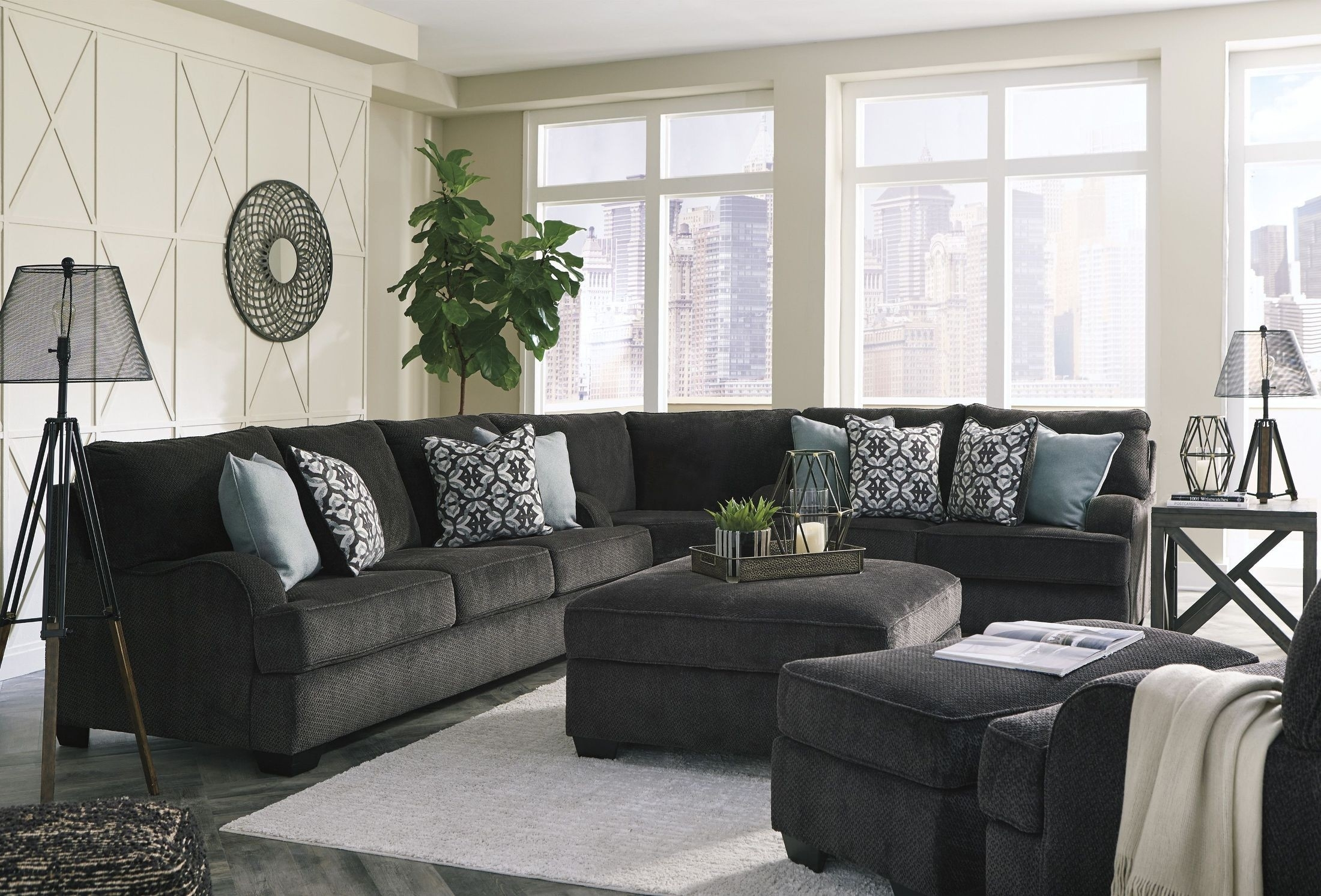 Signature Designashley Charenton Charcoal Sectional – Charenton Within Tess 2 Piece Power Reclining Sectionals With Laf Chaise (Image 15 of 25)
