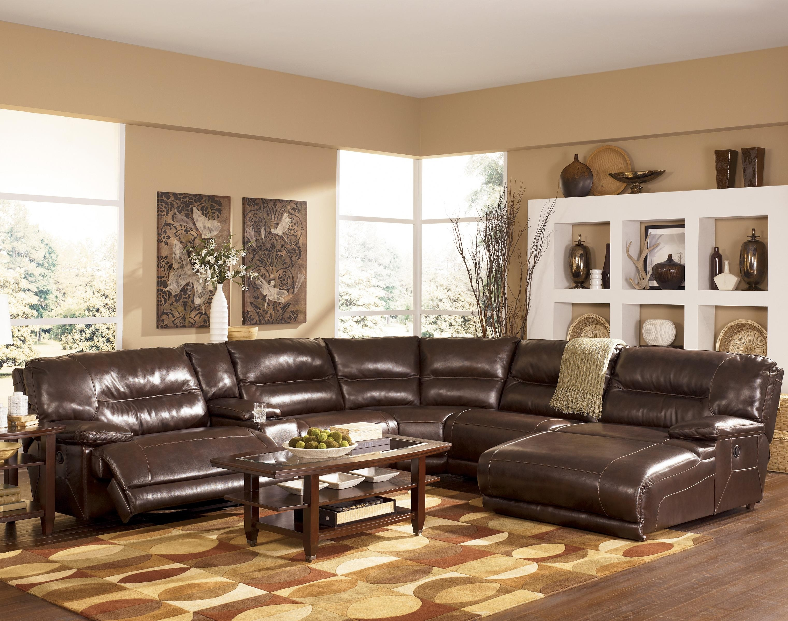 Signature Designashley Exhilaration – Chocolate Contemporary Pertaining To Norfolk Chocolate 6 Piece Sectionals With Raf Chaise (Image 19 of 25)