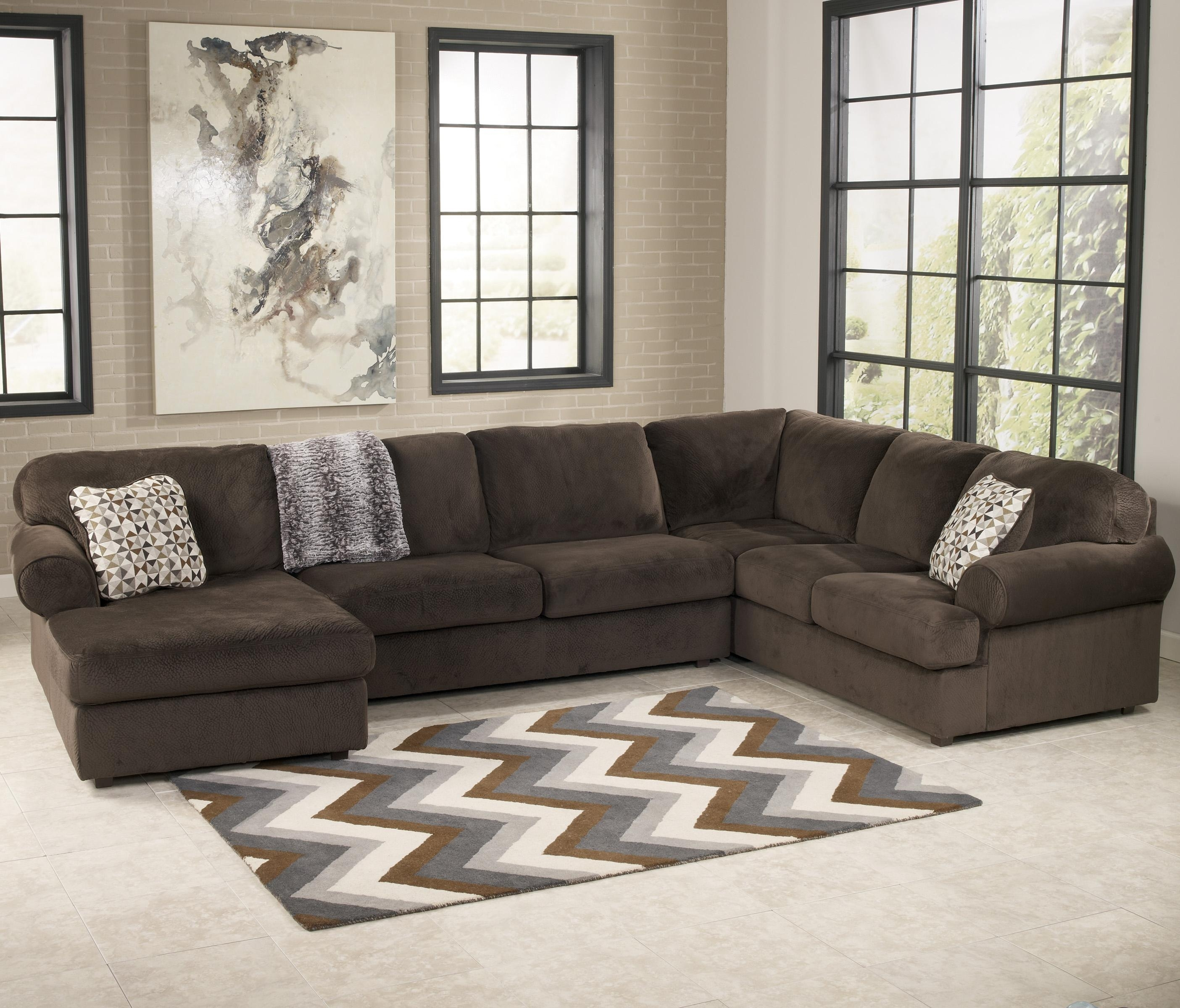Signature Designashley Jessa Place – Chocolate Casual Sectional Pertaining To Norfolk Chocolate 3 Piece Sectionals With Raf Chaise (Image 24 of 25)