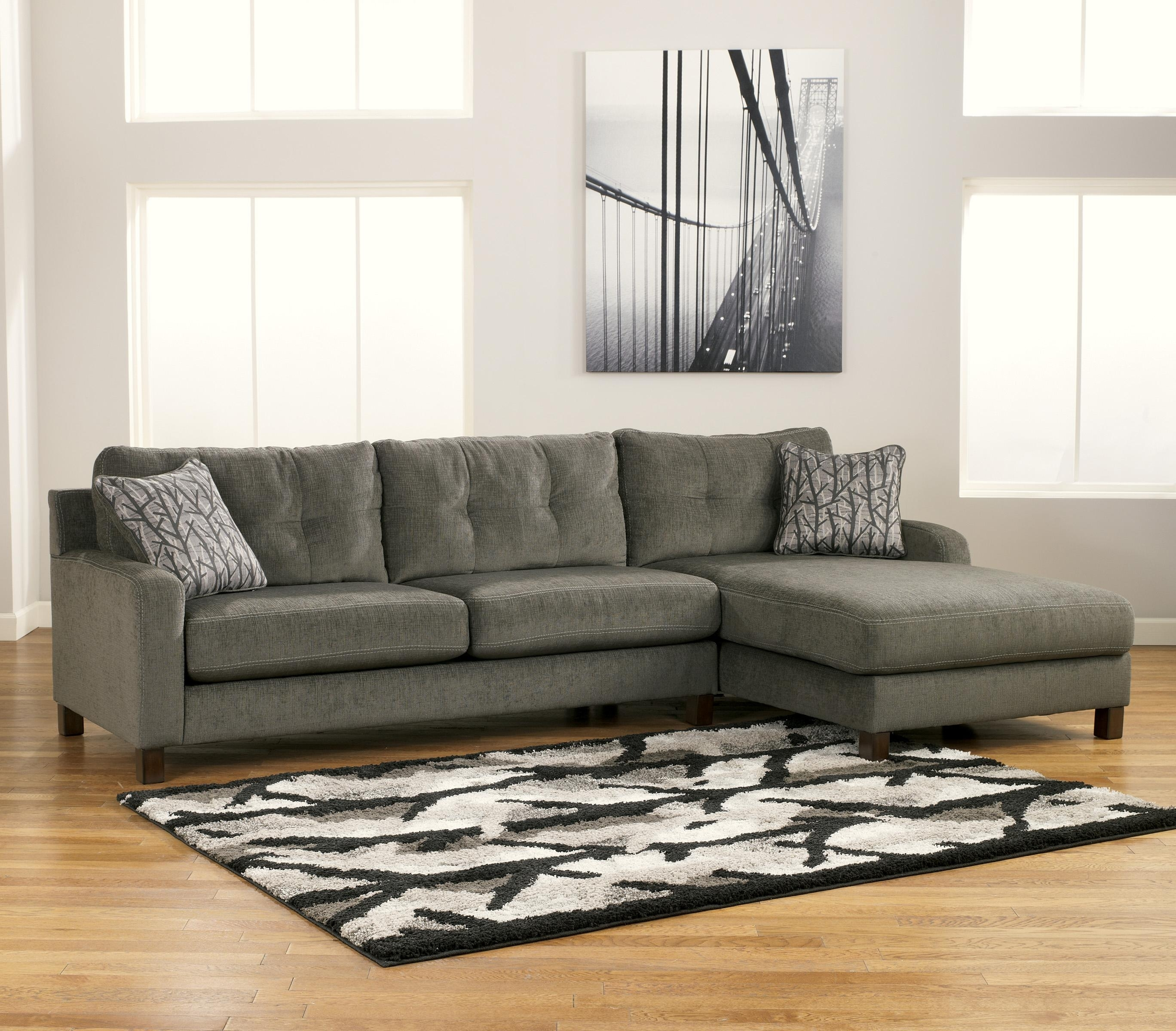 Signature Designashley Siroun – Steel Contemporary 2 Piece Inside Norfolk Grey 3 Piece Sectionals With Laf Chaise (View 18 of 25)