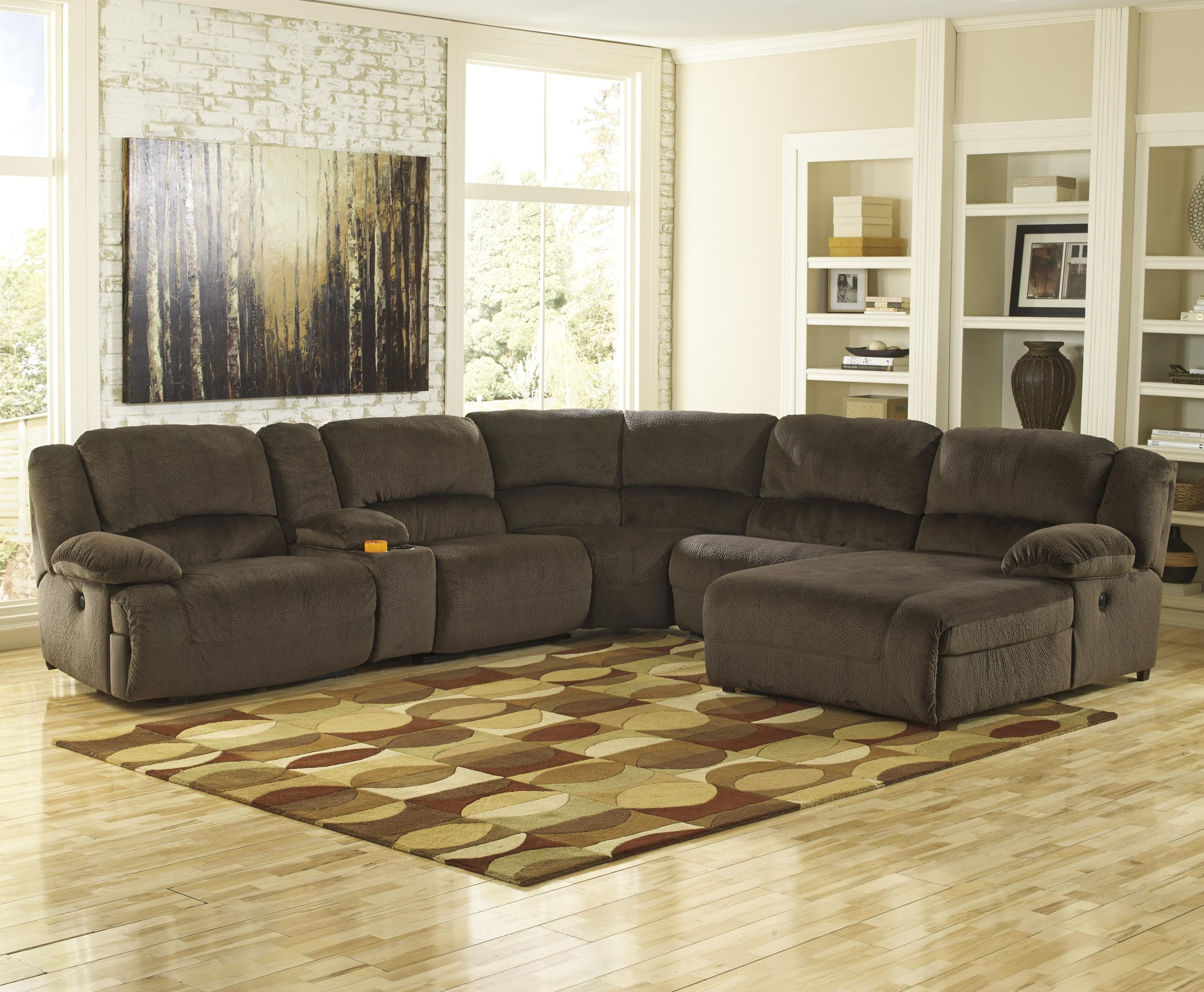 Signature Designashley Toletta – Chocolate Power Reclining Pertaining To Norfolk Chocolate 3 Piece Sectionals With Raf Chaise (Image 30 of 33)