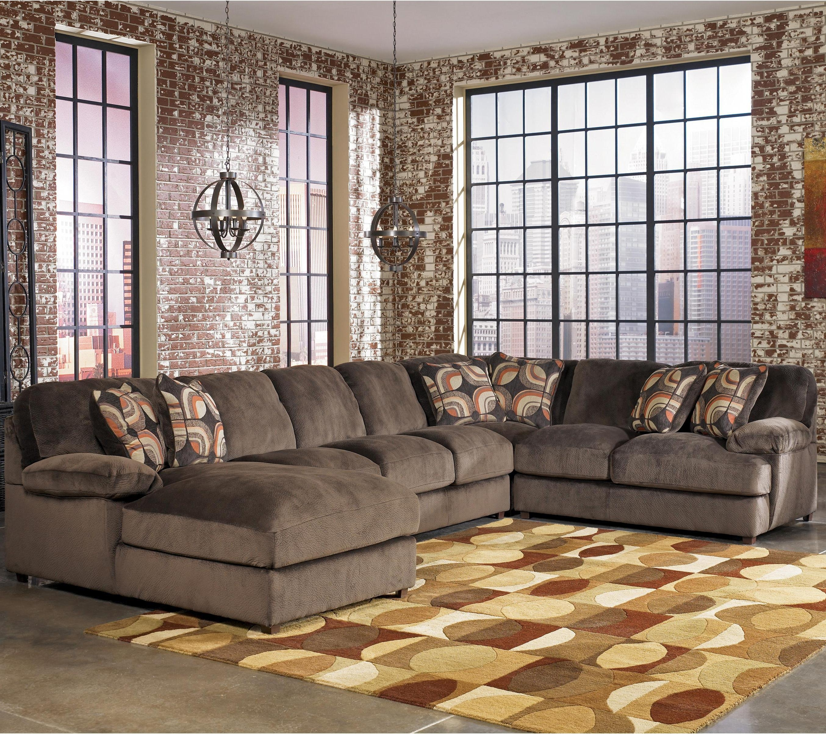 Signature Designashley Truscotti – Cafe Contemporary 4 Piece For Norfolk Chocolate 6 Piece Sectionals With Laf Chaise (Image 21 of 25)
