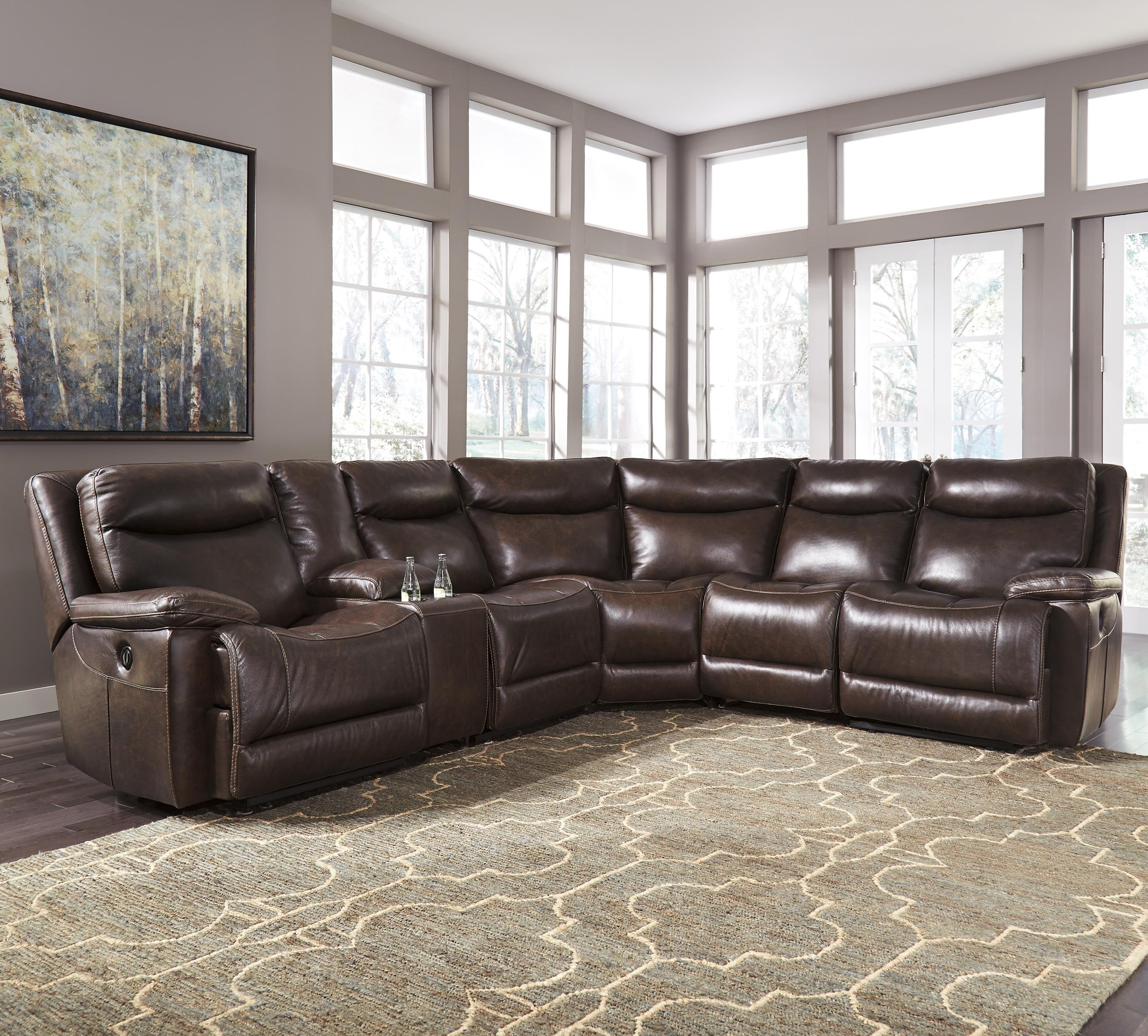 Signature Designashley Zaiden Contemporary Leather Match With Regard To Jackson 6 Piece Power Reclining Sectionals (Image 24 of 25)