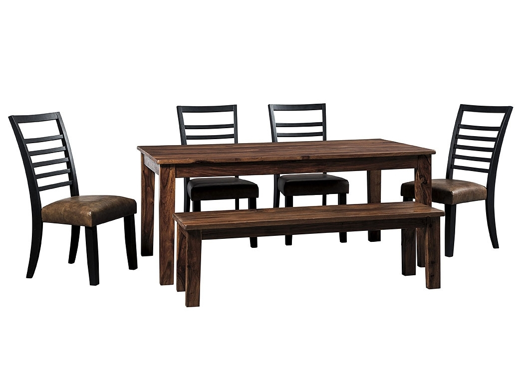 Signature Home Furniture Manishore Brown Rectangular Dining Room Inside Craftsman 7 Piece Rectangle Extension Dining Sets With Uph Side Chairs (Image 23 of 25)