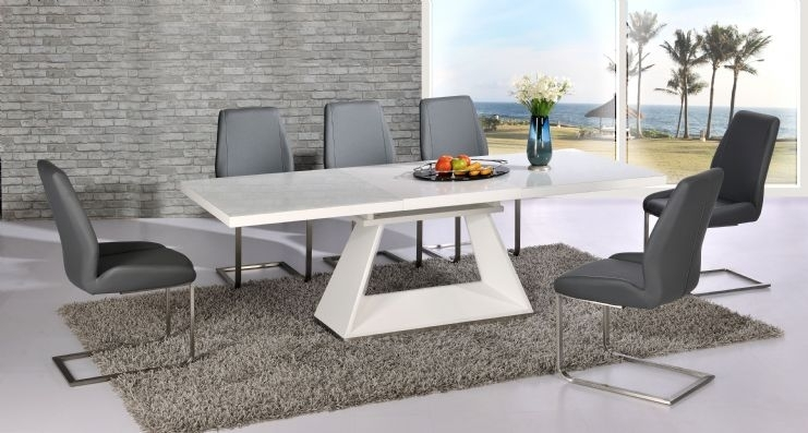 Silvano Extending White High Gloss Contemporary Dining Table & Dalia Regarding Grey Dining Tables (View 23 of 25)