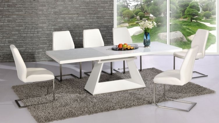Silvano Extending White High Gloss Contemporary Dining Table & Dalia With High Gloss White Dining Chairs (View 3 of 25)