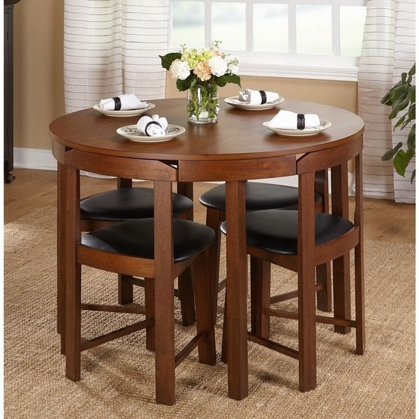 Simple Living 5 Piece Tobey Walnut Compact Dining Set | Overstock Regarding Compact Dining Tables (View 3 of 25)