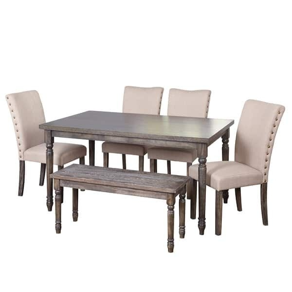 Simple Living Burntwood Parson Weathered Grey 6 Piece Dining Set With Regard To Jaxon Grey 5 Piece Extension Counter Sets With Fabric Stools (Image 20 of 25)