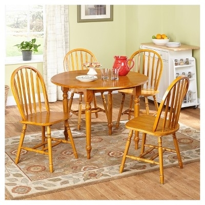 Simple Living Farmhouse 5 Or 7 Piece Oak (Brown) Dining Se Regarding Rocco 7 Piece Extension Dining Sets (View 24 of 25)