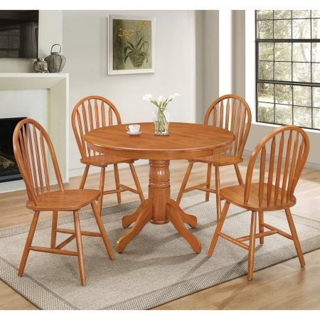 Simple Living Farmhouse 5 Or 7 Piece Oak (Brown) Dining Se With Regard To Rocco 7 Piece Extension Dining Sets (View 23 of 25)