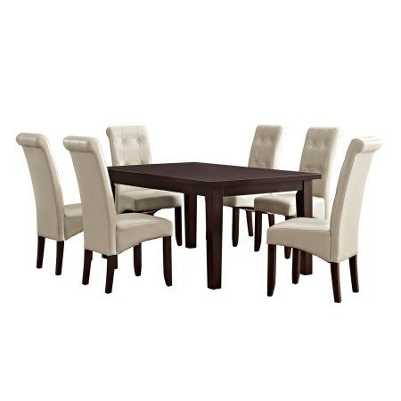 Simpli Home Cosmopolitan 7 Piece Dining Set, Beige | Cosmopolitan Intended For Jaxon 7 Piece Rectangle Dining Sets With Wood Chairs (View 5 of 25)