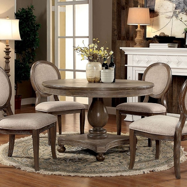 Siobhan Rustic Dark Oak Round Dining Set – Shop For Affordable Home Intended For Oak Round Dining Tables And Chairs (Image 17 of 25)