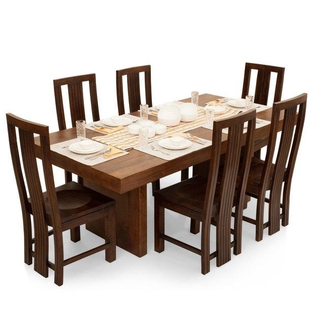 Six Seater Dining Table And Chairs 6 Seater Dining Table Tufted Back With 6 Seat Dining Table Sets (View 7 of 25)