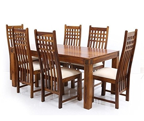 Six Seater Dining Table Set In Sheesham Wood (Brown) – Pharneechar Intended For Six Seater Dining Tables (Image 20 of 25)