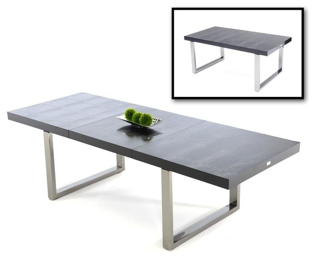 Skyline Black Crocodile Textured Lacquer Extendable Dining Table Pertaining To Extendable Dining Tables (Image 23 of 25)