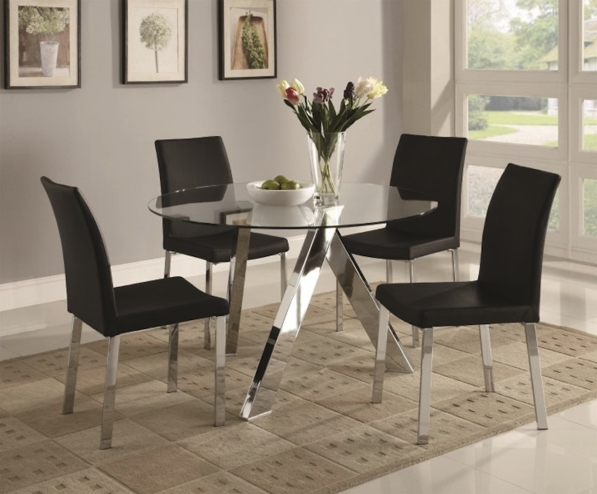 Sleek Round Glass Dining Tables That Make A Stylish Impression With Sleek Dining Tables (Image 22 of 25)