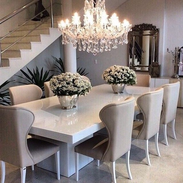 Sleek White Table With Ivory/beige Dining Chairs, Top Off The Regarding White Dining Tables (Image 20 of 25)