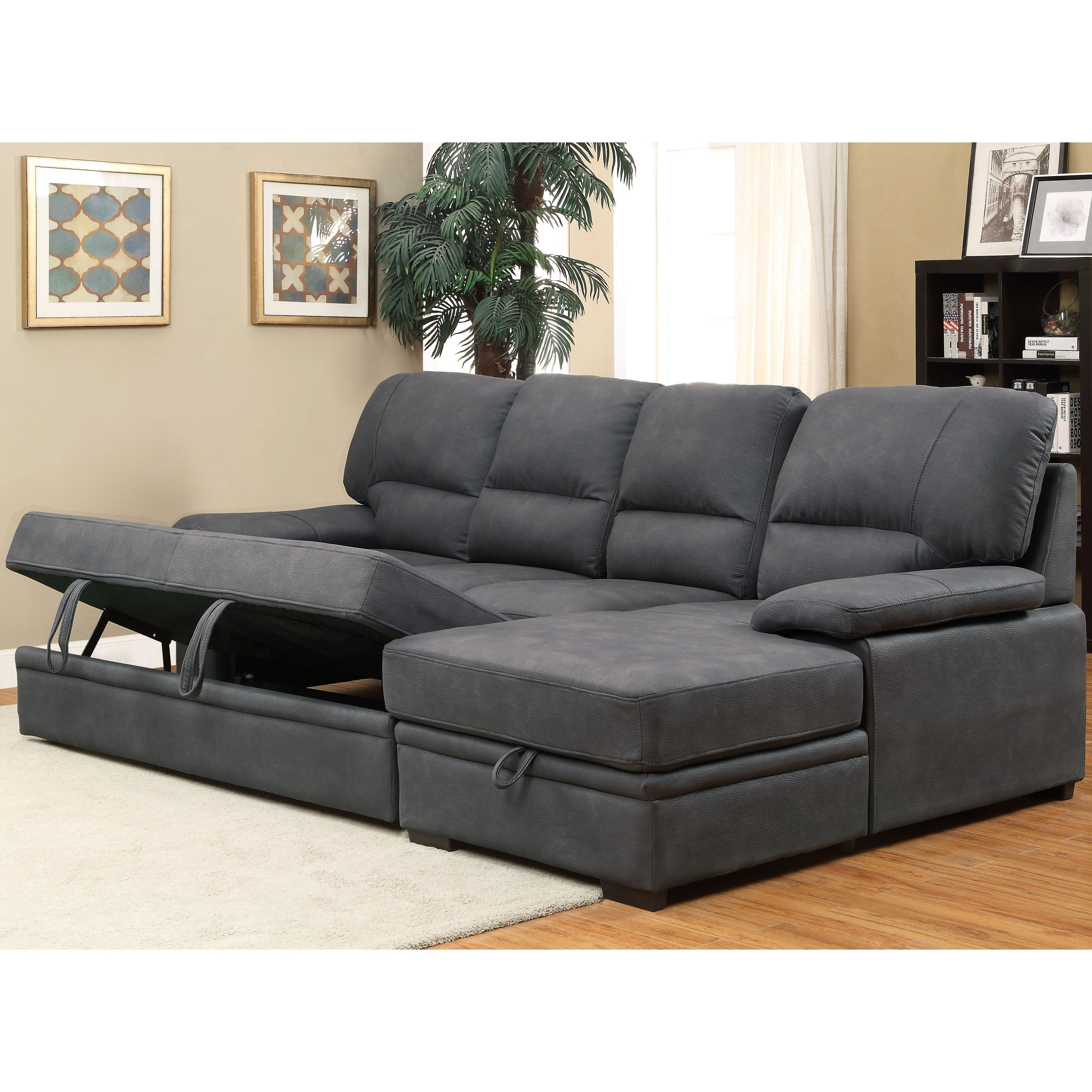 Sleeper Sectional | Two Piece Casual Sleeper Sectional In Cream In Lucy Dark Grey 2 Piece Sleeper Sectionals With Laf Chaise (View 22 of 25)