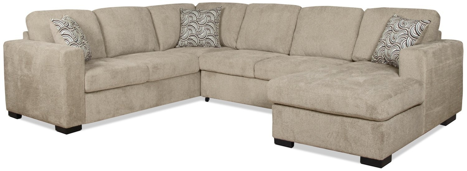 Sleeper Sectional | Two Piece Casual Sleeper Sectional In Cream Within Aspen 2 Piece Sleeper Sectionals With Raf Chaise (View 21 of 25)
